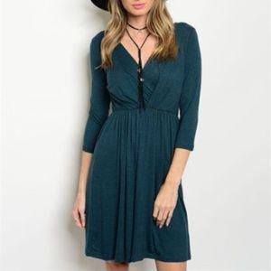 Teal 3/4 Sleeve Wrap Style Dress